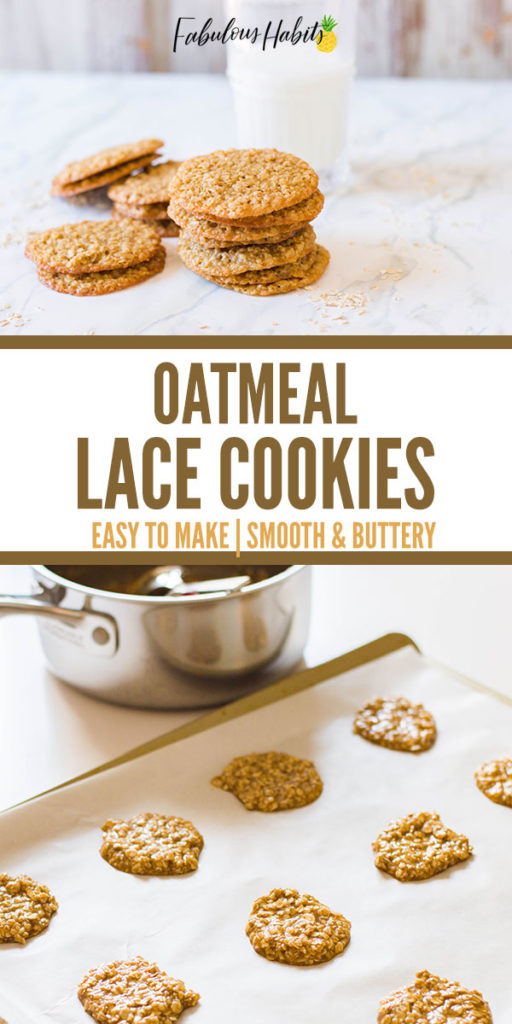Oatmeal Lace Cookies! Here's a simple recipe for a delicate, buttery, crispy oatmeal lace cookie. They spread evenly and caramelize once popped into the oven - and they only take 8 minutes to bake!