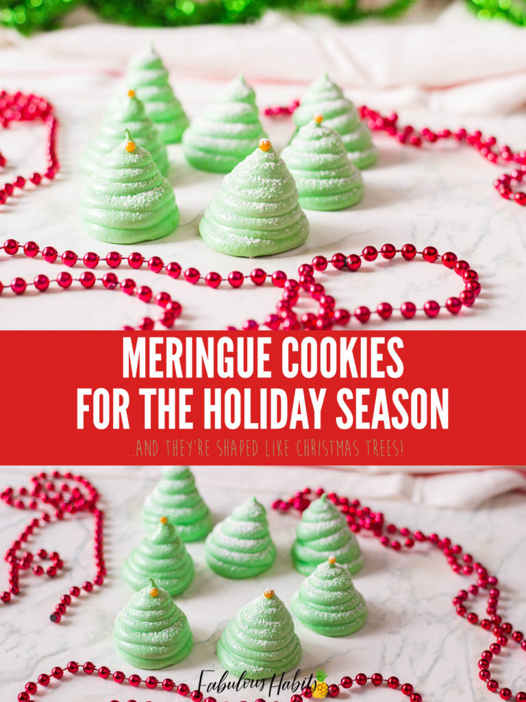 These airy meringue cookies are shaped just like Christmas trees and are SO adorable! Create a holiday conversation piece with these delicious Christmas Tree Meringue Cookies.
