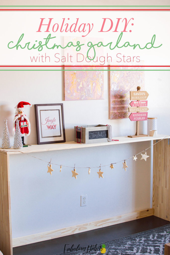 This Christmas Garland is made up of jute cord and our easy salt dough recipe. Such a cute holiday project to make with your kiddos this season!